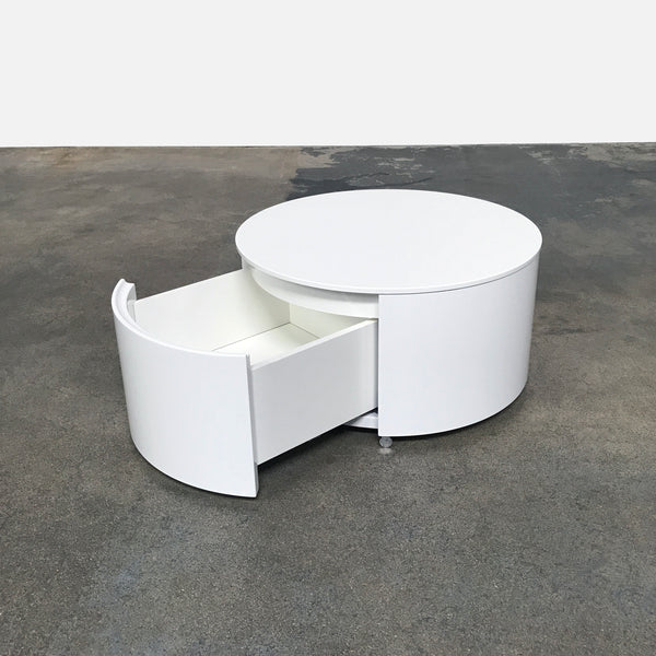 Flou White Lacquer Sailor Bedside Table by Carlo Colombo