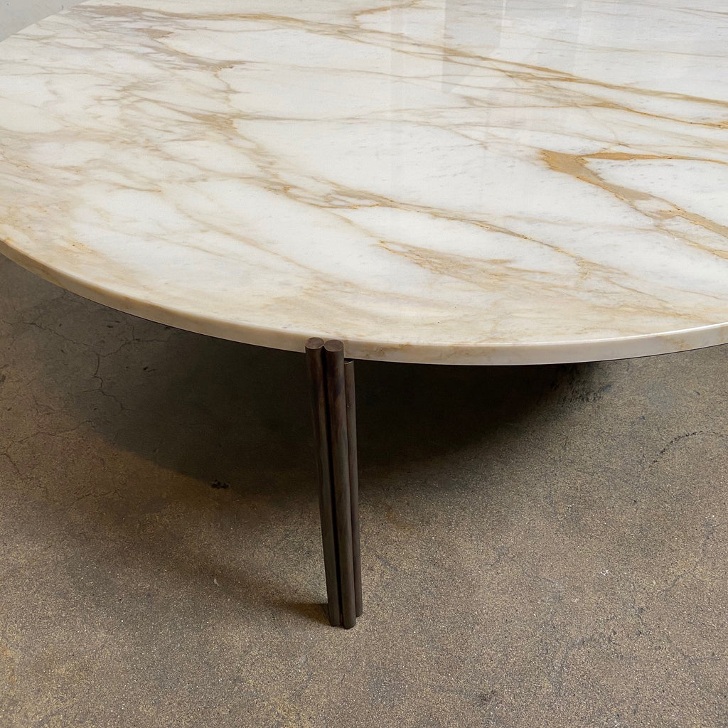 Edge view Gallotti and Radice Twelve Marble Coffee or Side Table by Massimo Castagna. Showroom sample and in stock. Save thousands of dollars online or in our designer furniture outlet. Shop upscale furniture consignment from Los Angeles elite homes, showroom closings, overstock & liquidations. 40-70% discount below retail.
