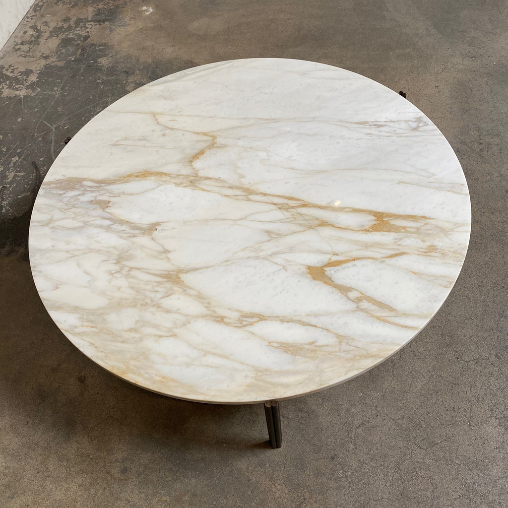 Top View Gallotti and Radice Twelve Marble Coffee or Side Table by Massimo Castagna. Showroom sample and in stock. Save thousands of dollars online or in our designer furniture outlet. Shop upscale furniture consignment from Los Angeles elite homes, showroom closings, overstock & liquidations. 40-70% discount below retail.