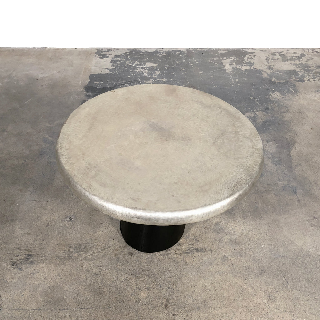 Gervasoni Log Side Table with Zinc Top by Paola Navone