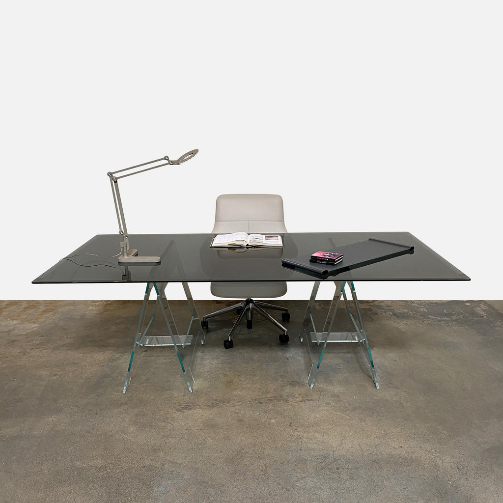 Office Desk Look: Glas Italia Black Glass Don Cavaletto Table by Jean-Marie Massaud