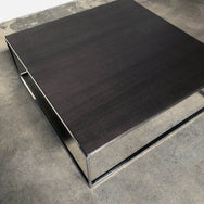 Gray Oak and Chrome Coffee Table