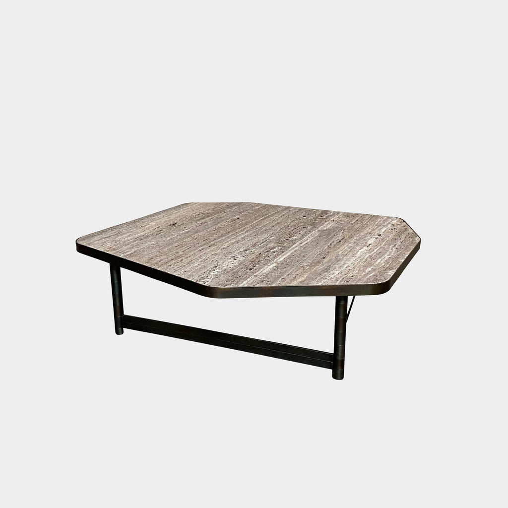 Henge 'OR' Table Large size table with exotic rough cut stone top and brass base