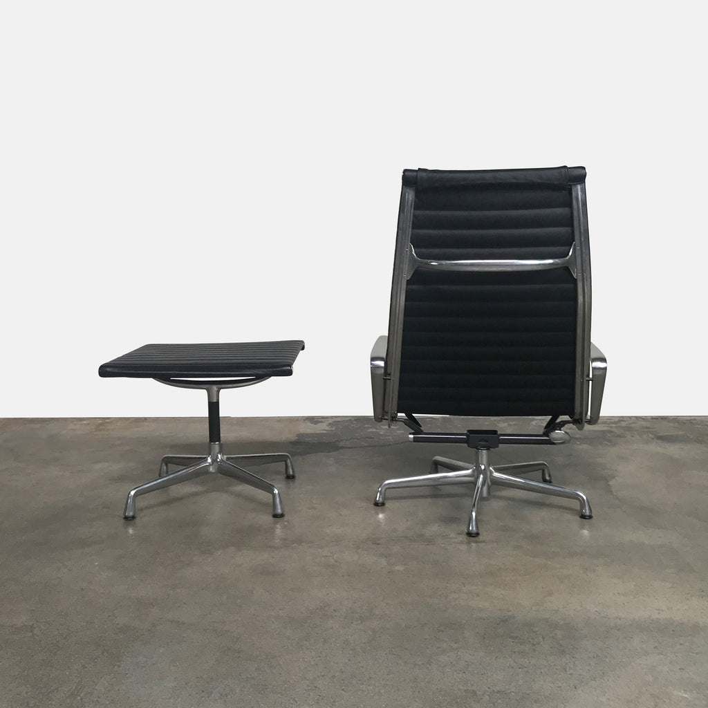 Herman Miller Black Leather Aluminum Group Lounge Chair & Ottoman