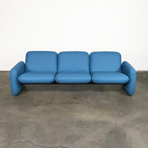 Herman Miller Blue Vinyl Chiclet Sofa by Ray Wilkes | LA | Consignment