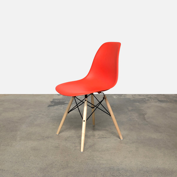 Herman Miller Eames Molded Plastic Red Side Chair with Dowel Base