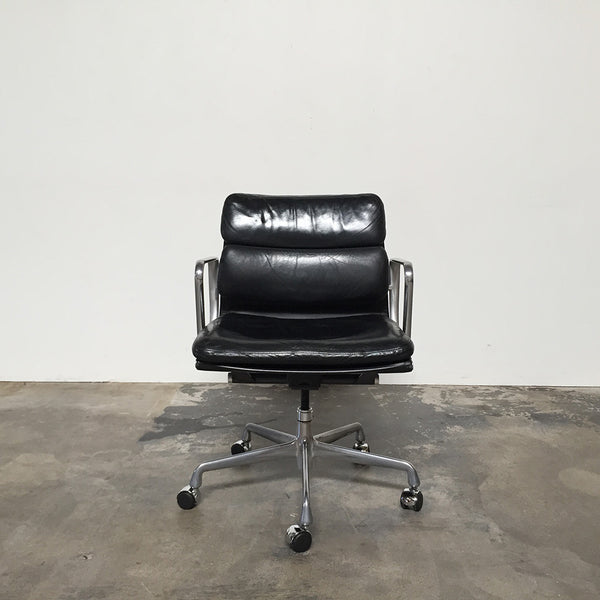 Eames Herman Miller Black Leather Soft Pad Chairs with Castors
