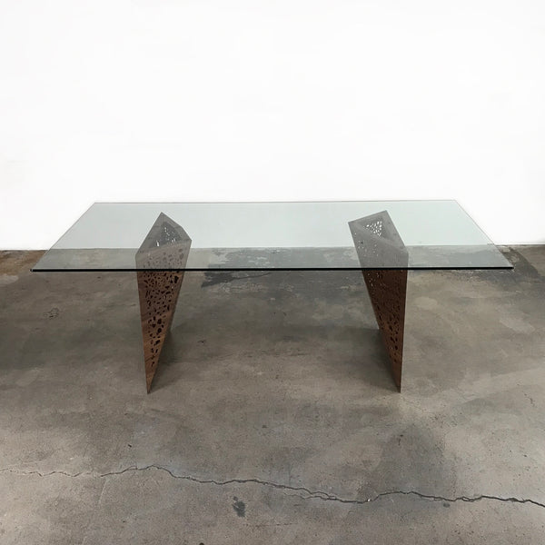 Horm.it Glass top, Walnut base Riddled Table by Steven Holl
