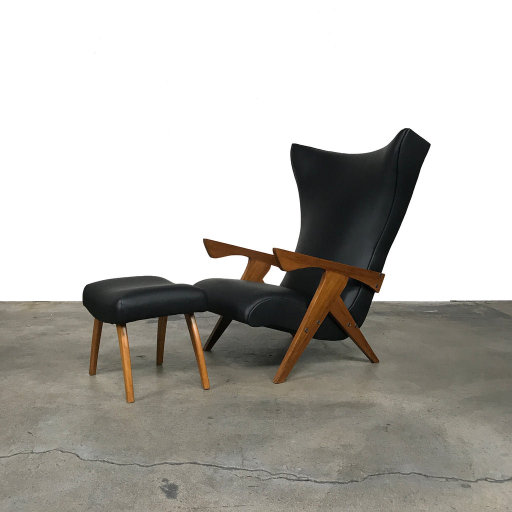 High Back Vintage Armchair and Ottoman by Zanine Caldas, Chair & Ottoman - Modern Resale