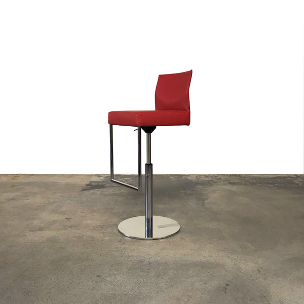 KFF Glooh Red Leather Adjustable Bar Stool by Karl-Friedrich Forster