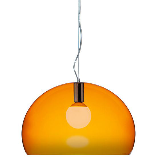 Kartell Orange Plastic FL/Y Suspension Lamp by Ferruccio Laviani