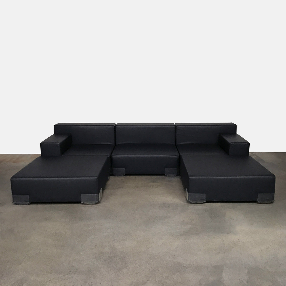 Kartell Black Neoprene Plastics Vinyl Sectional by Piero Lissoni