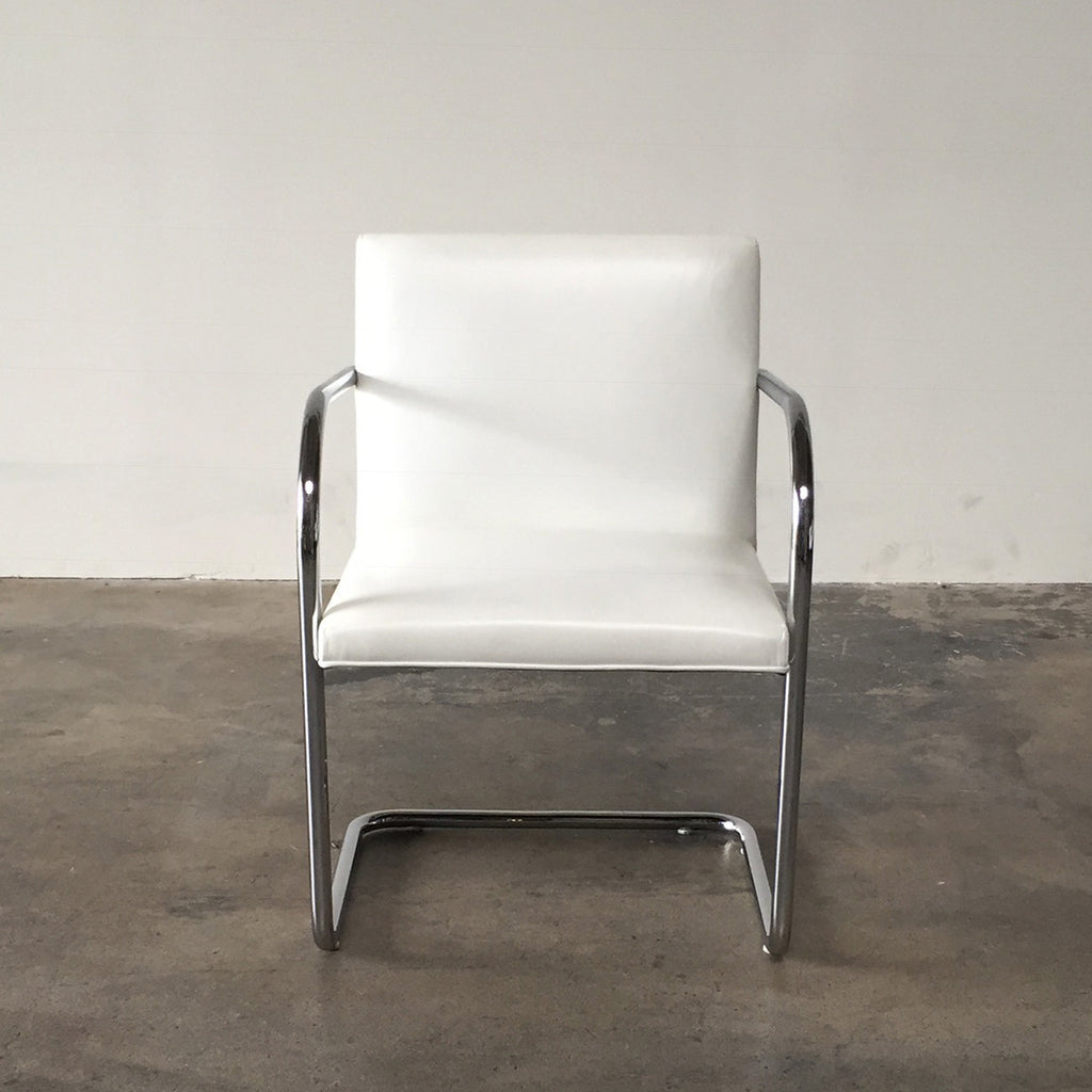 Brno chair tubular -  Knoll White Leather Brno Chairs By Ludwig Mies Van Der Rohe