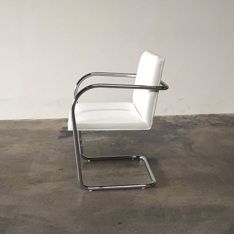Knoll White Leather Brno Chairs by Ludwig Mies van der Rohe