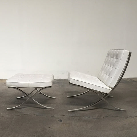 White Barcelona Chair & Ottoman