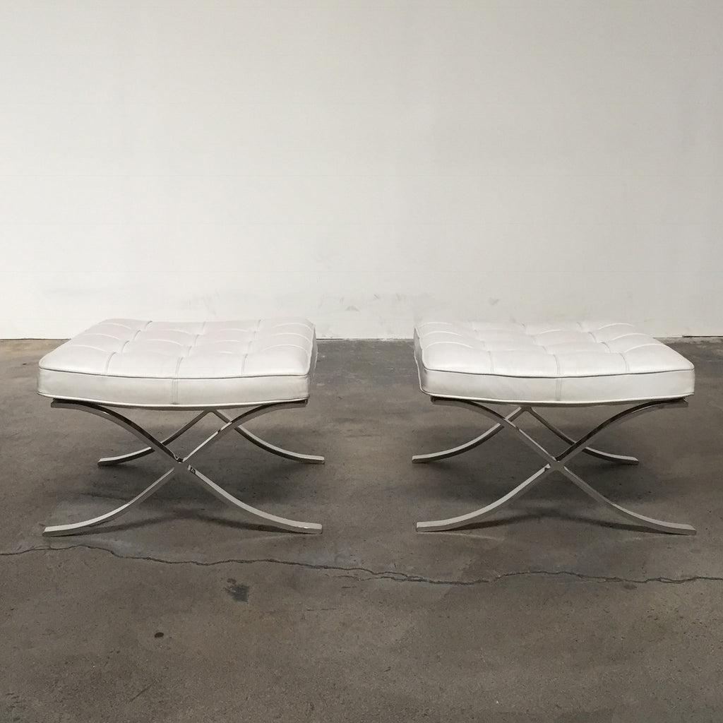 Fabulous Knoll White Barcelona Chair And Ottoman Los Angeles Caraccident5 Cool Chair Designs And Ideas Caraccident5Info