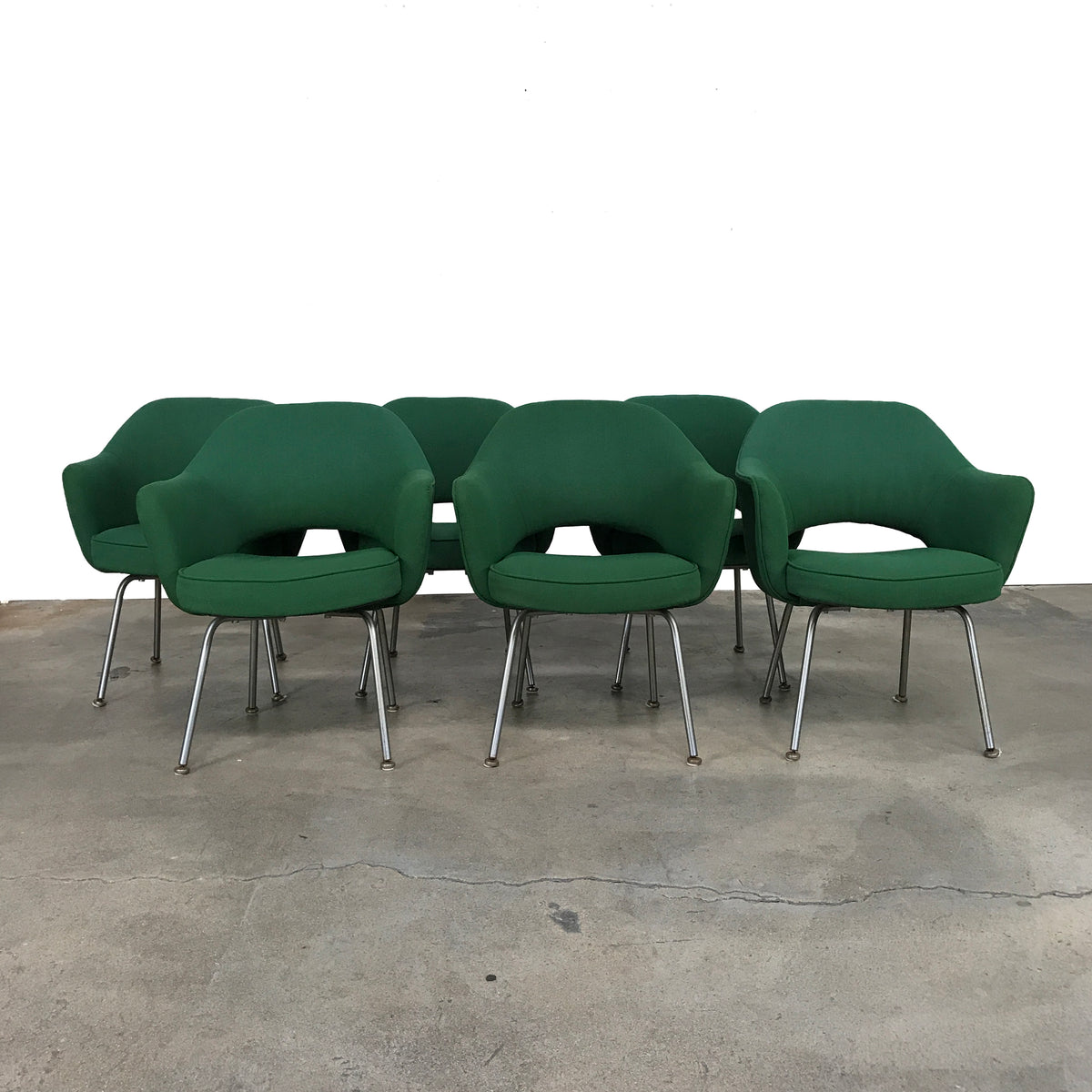 Knoll Green Fabric Saarinen Executive Armchair by Eero Saarinen