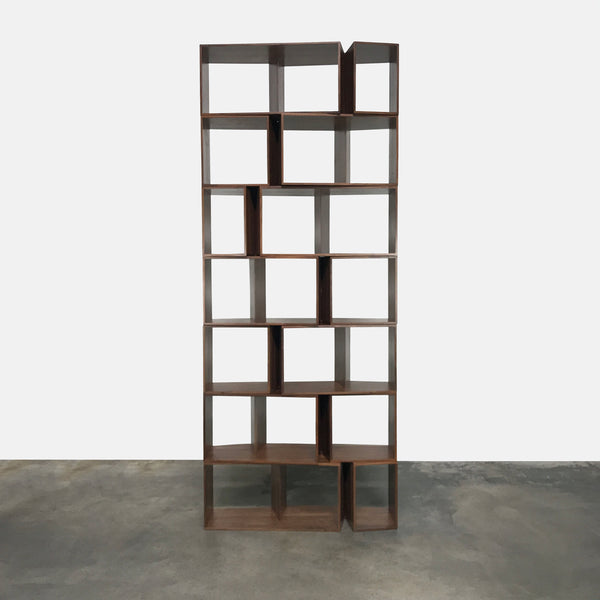 Ligne Roset Cuts Stackable Walnut Shelves by Philippe Nigro