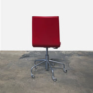 Ligne Roset Red Leather Pam Swivel Desk Chair