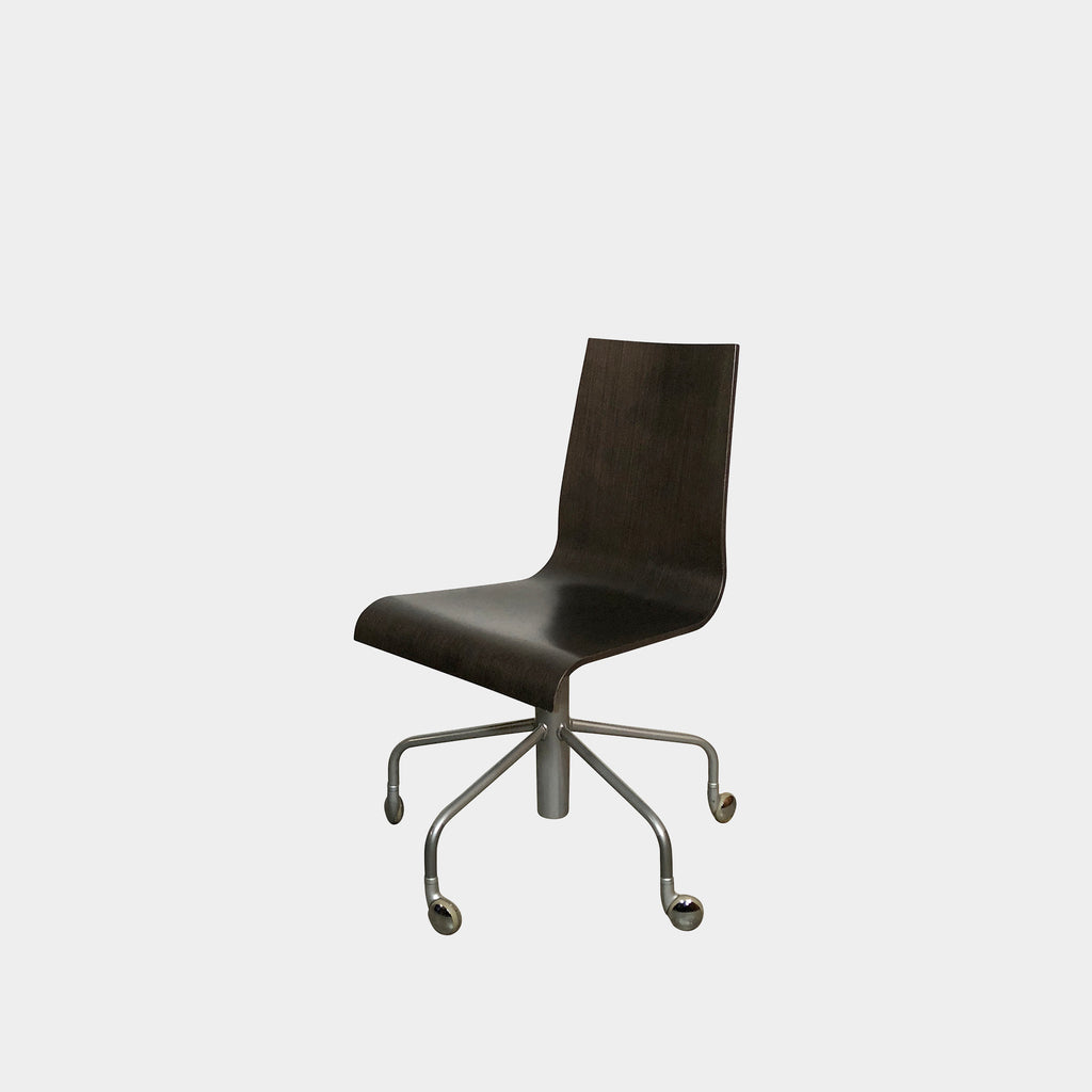 Pam Wooden Swivel Desk Chair, Swivel Chair - Modern Resale