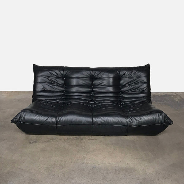 Togo Black Leather Loveseat By Michel Ducaroy | LA | Consignment