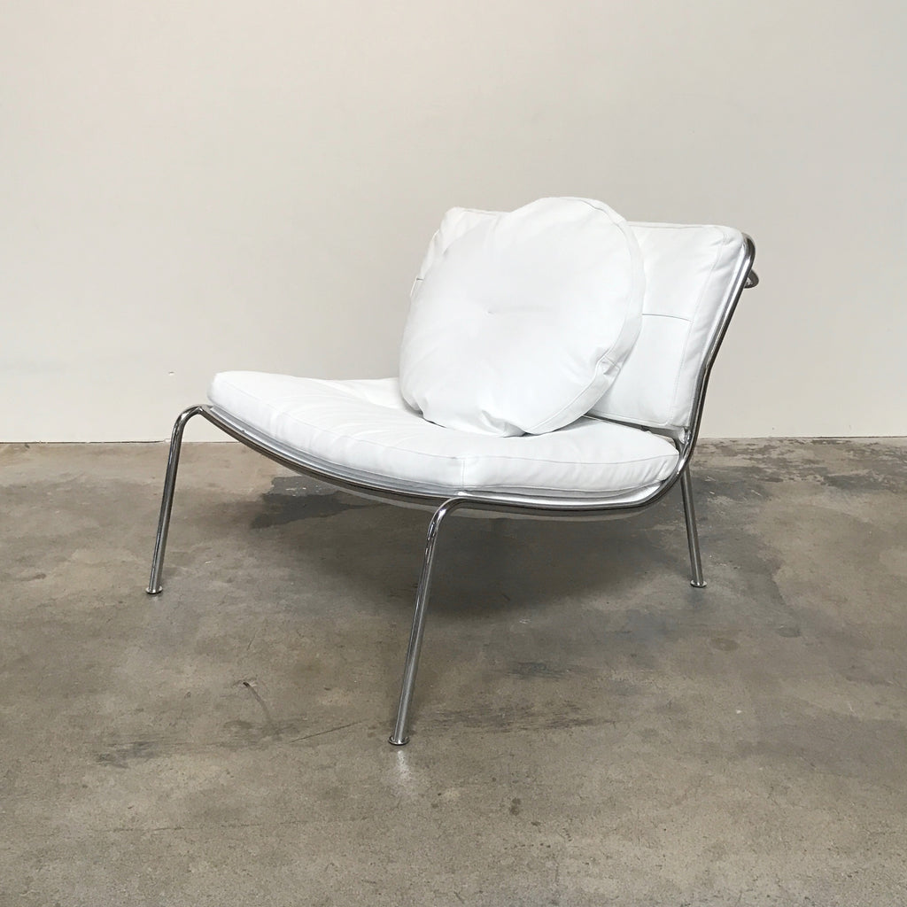 Living Divani White Leather Frog Chair by Piero Lissoni