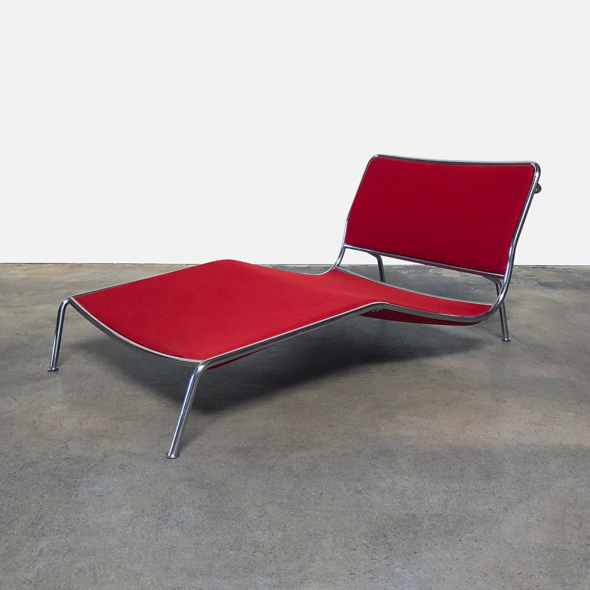 Living Divani Red Felt Frog Chaise Lounge Chair by Piero Lissoni