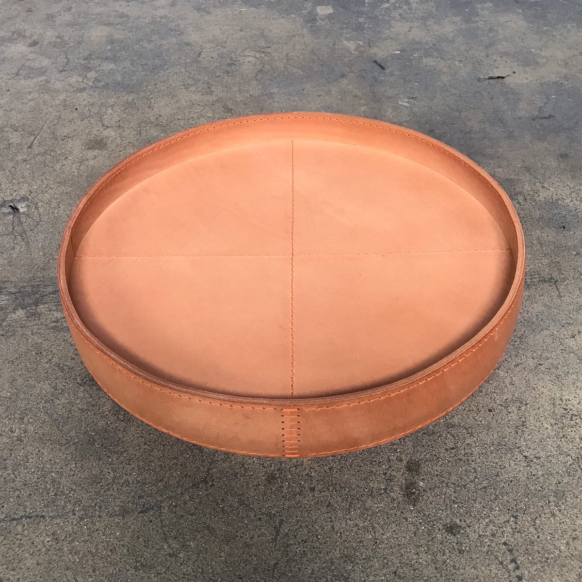 Matteo Grassi Round Natural Leather Tray | LA | Consignment