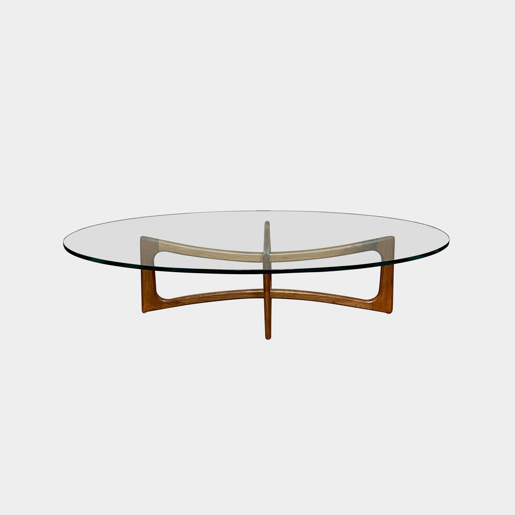Mid Century Modern Glass Wood Coffee Table