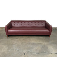 Milo Baughman Wine Leather Tufted Leather Sofa Rosewood Base