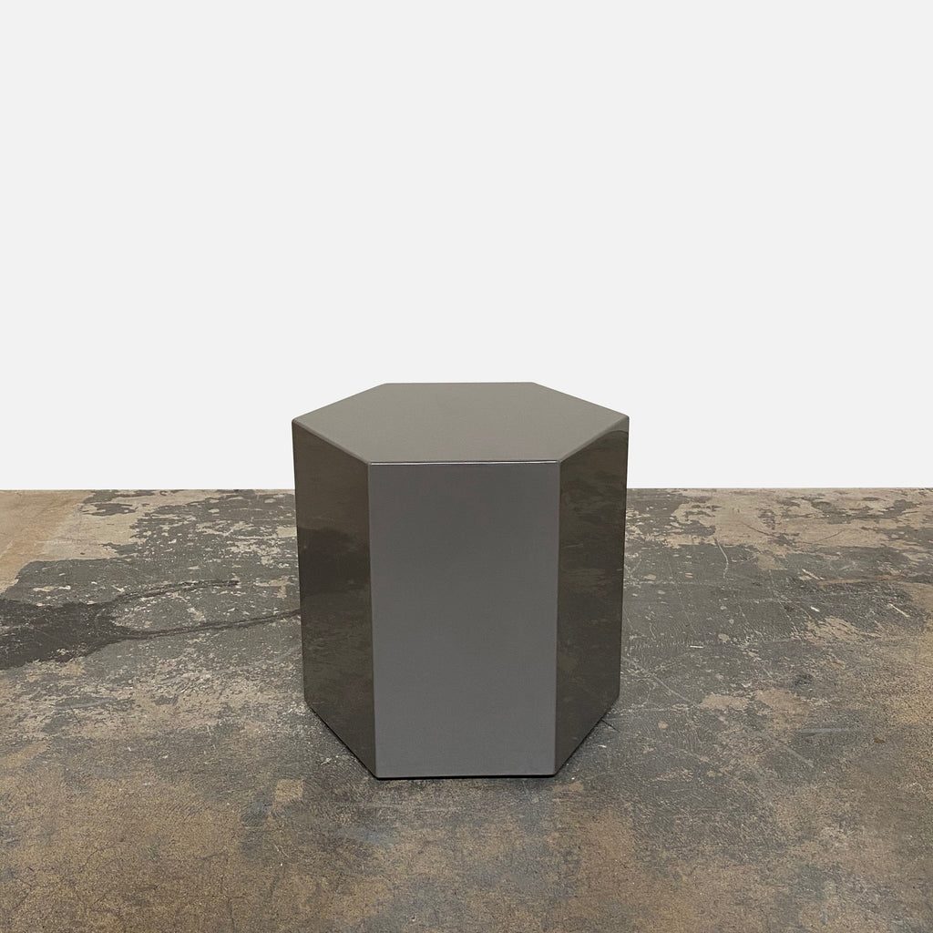 Minotti Stone Gray Glossy Lacquer Aeron Side Table | Los AngelesShowroom sample and in stock. It's a table and a light. Save thousands of dollars online or in our designer furniture outlet. Shop upscale furniture consignment from Los Angeles elite homes