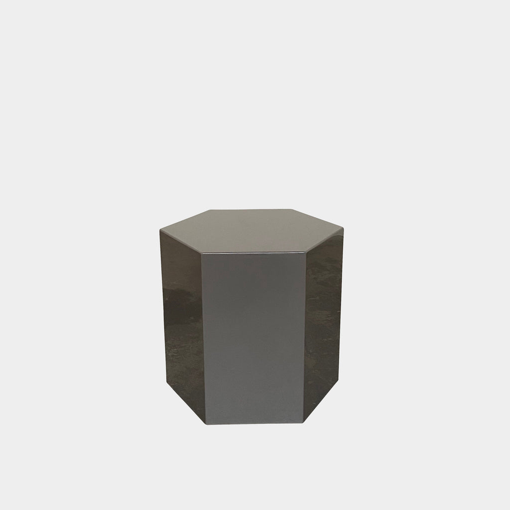 Minotti Stone Gray Glossy Lacquer Aeron Side Table | Los AngelesShowroom sample and in stock. It's a table and a light. Save thousands of dollars online or in our designer furniture outlet. Shop upscale furniture consignment from Los Angeles elite homes, showroom closings, overstock & liquidations.