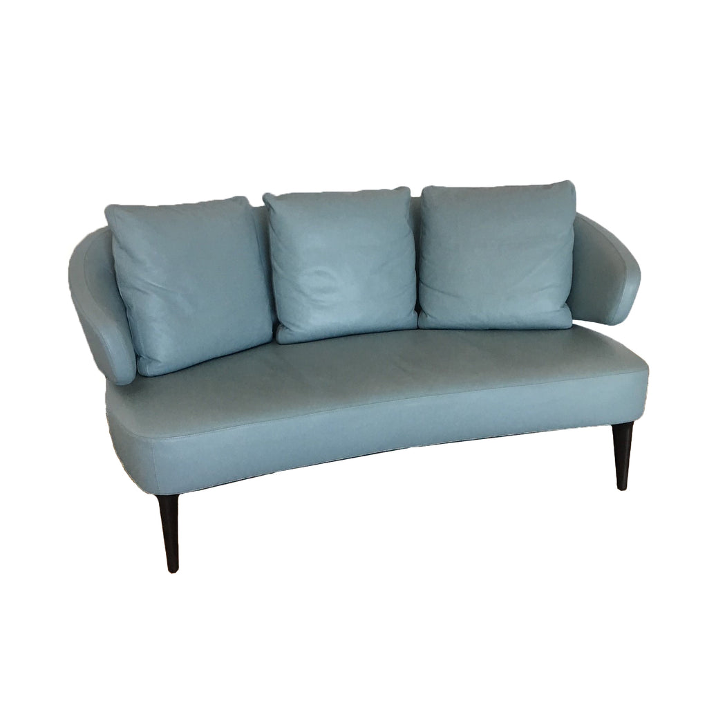 Minotti Aston Sofa and ottoman by Rodolfo Doroni in Blue leather  | Los Angeles. Showroom sample and in stock. Save thousands of dollars online or in our designer furniture outlet. Shop upscale furniture consignment from Los Angeles elite homes, showroom closings, overstock & liquidations. 40-70% discount below retail.
