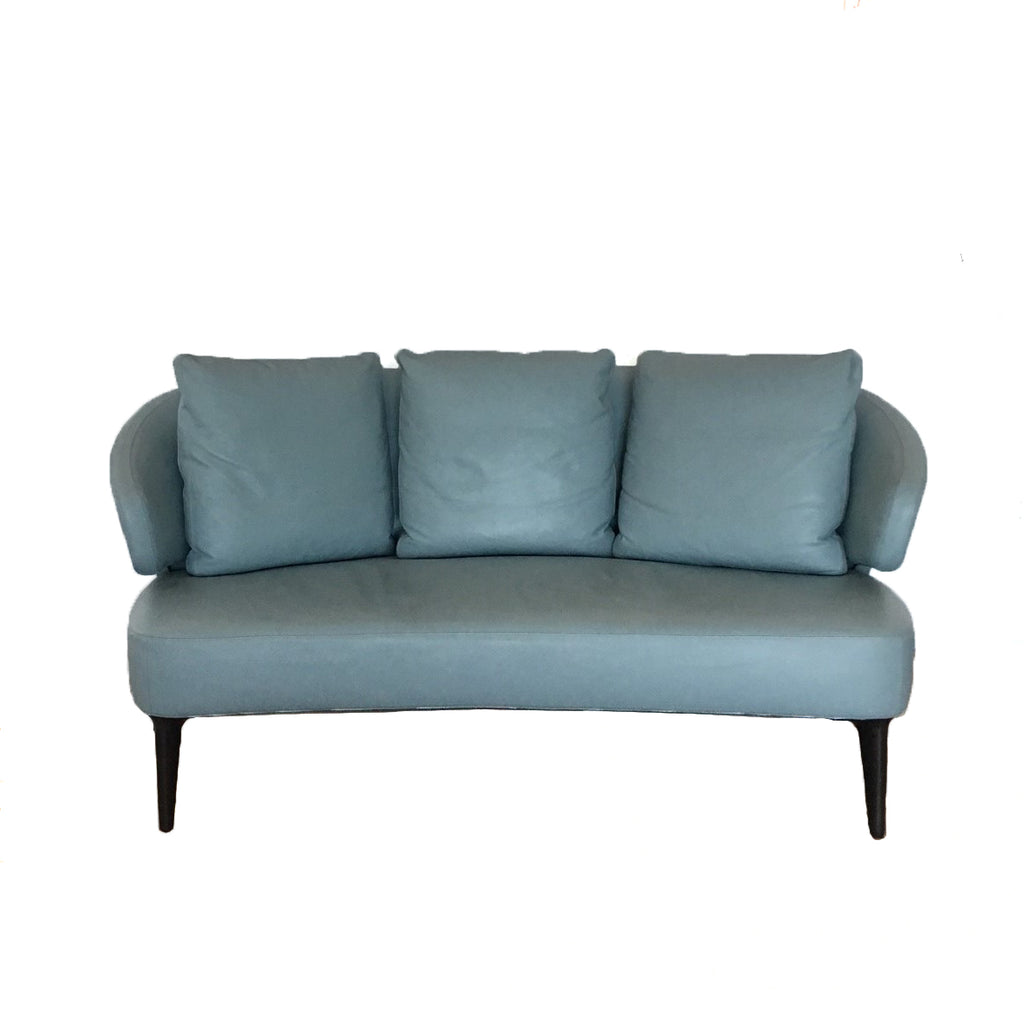 Minotti Aston Sofa and ottoman by Rodolfo Doroni in Blue leather  | Los Angeles. Showroom sample and in stock. Save thousands of dollars online or in our designer furniture outlet. Shop upscale furniture consignment from Los Angeles elite homes, showroom closings, overstock & liquidations.