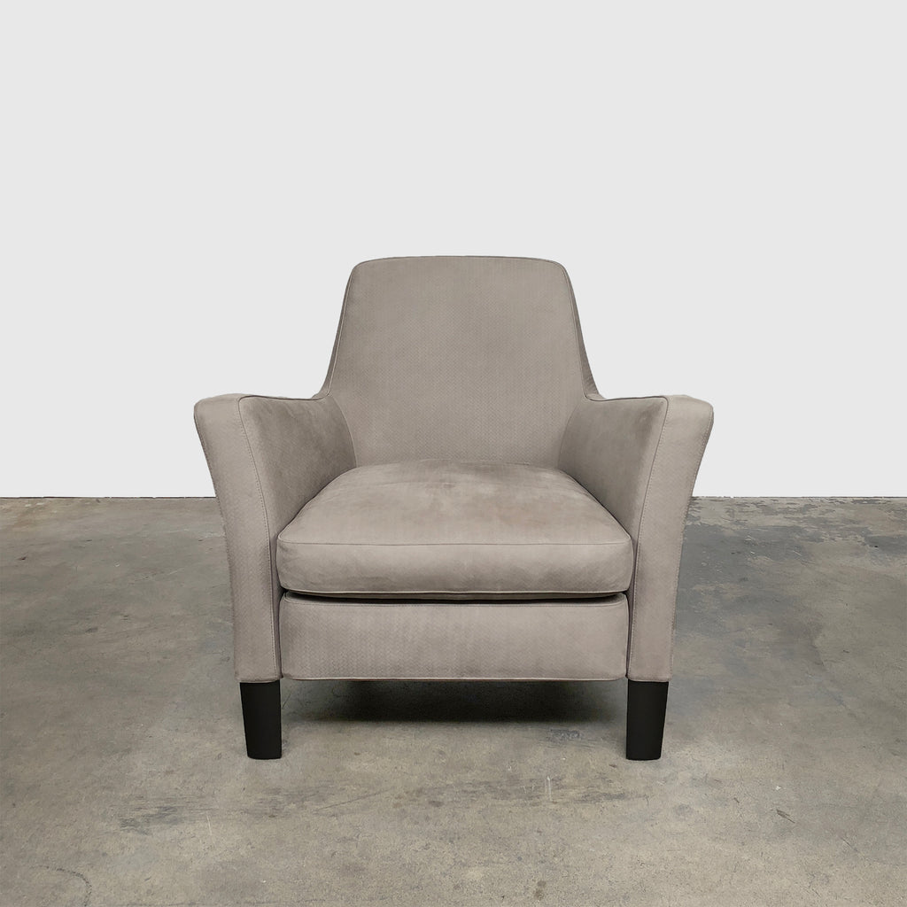 Minotti 'Denny' Pewter Suede Armchair (2 in stock) by Roldolfo Dordoni