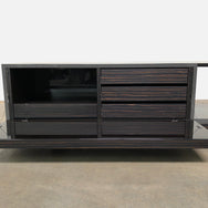 Minotti Gray Glossy Lacquer and Ebony Lang Living Sideboard