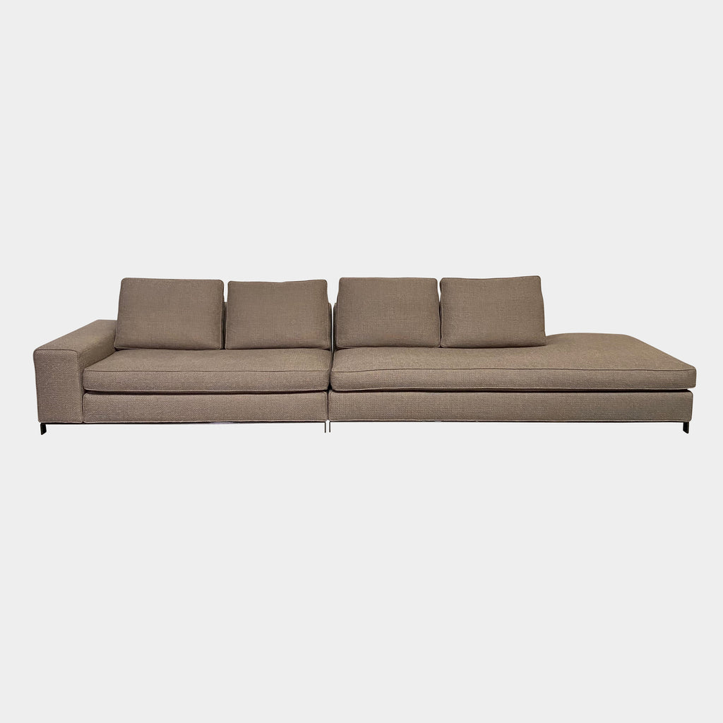 Modern Italian Brand Minotti 'Williams' Sofa with open end. Taupe Fabric . On sale Los Angeles