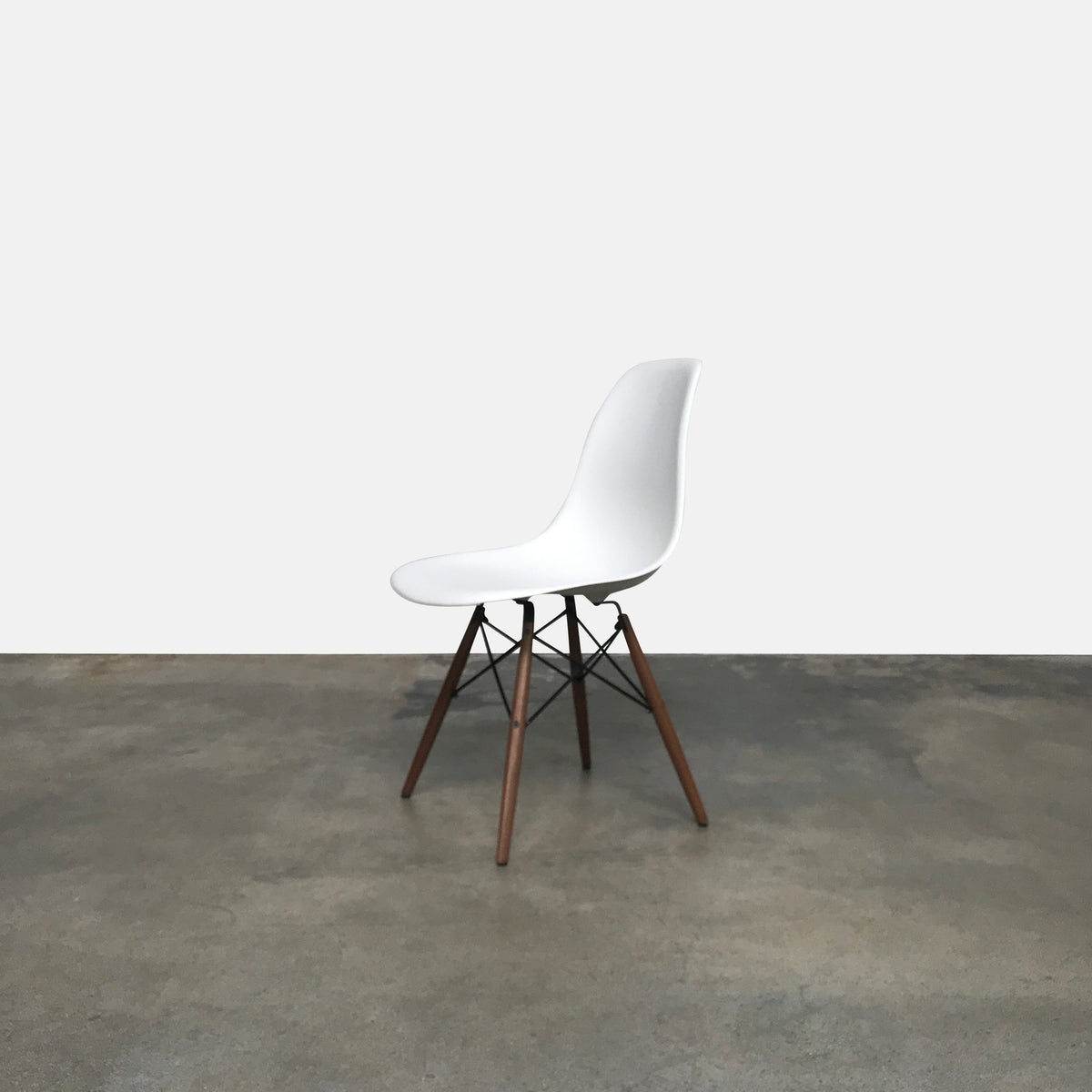 Modernica White Case Study Shell Dowel Side Chair by Eames