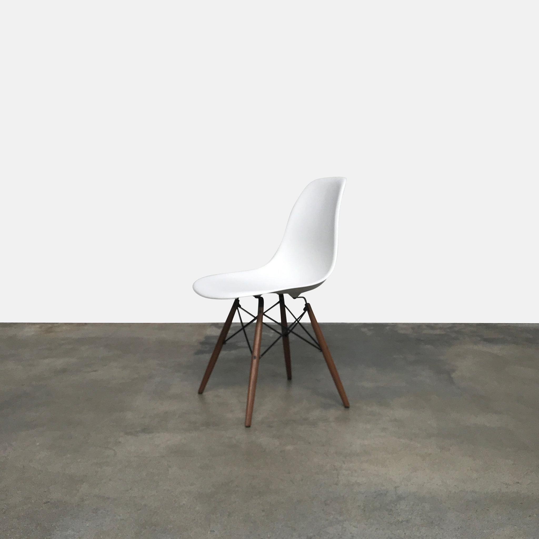 Modernica White Case Study Shell Dowel Side Chair By Eames ...