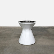 Molteni & Co White Leather Buddy Side Table With Chrome Top