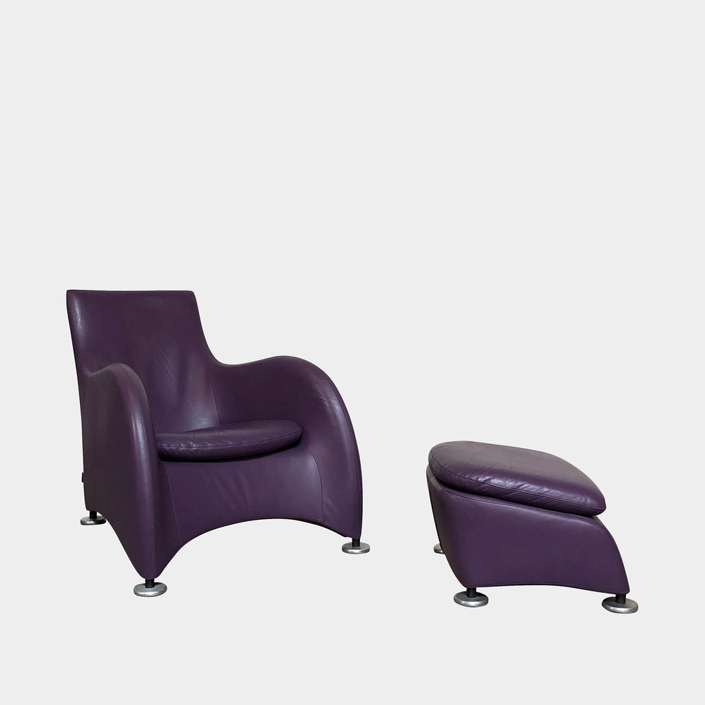Montis Purple Leather Loge Lounge Chair & Ottoman