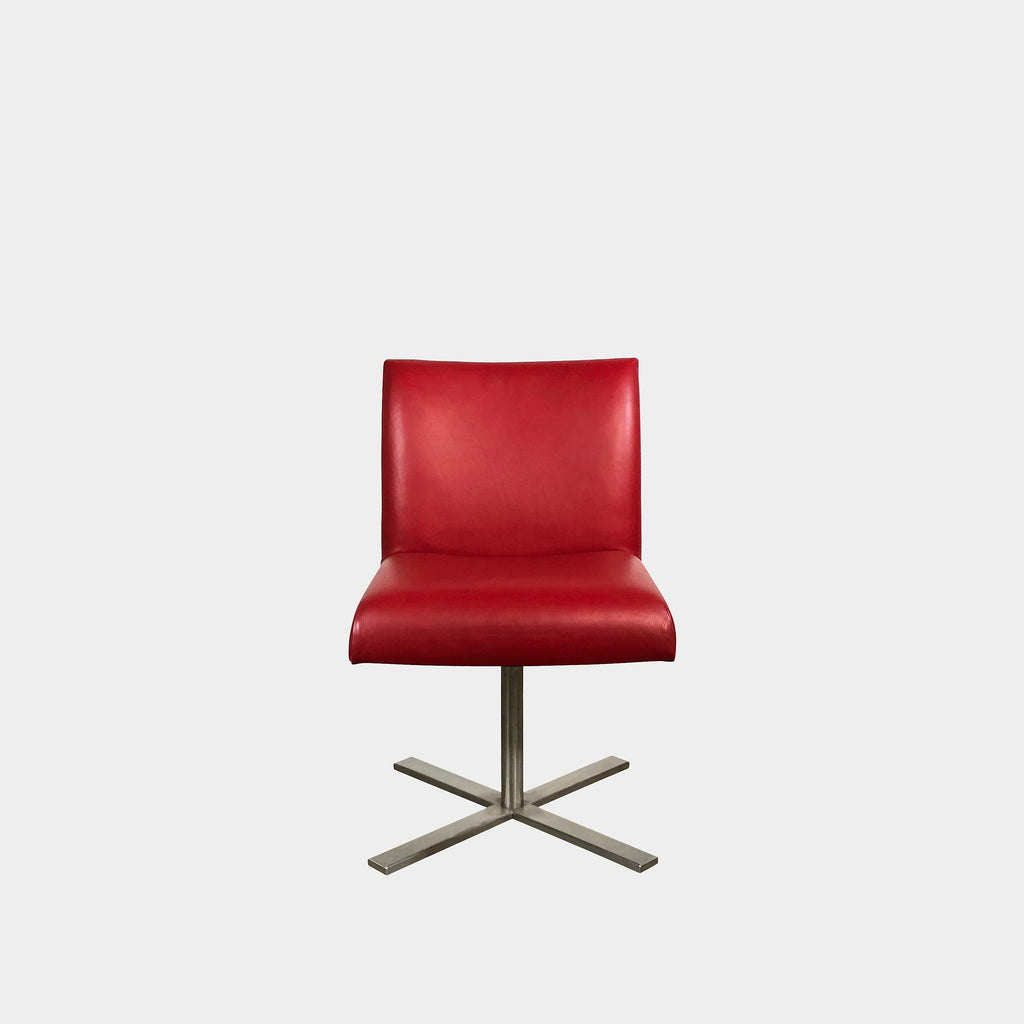 Red Leather Swivel Chair, Swivel Chair - Modern Resale