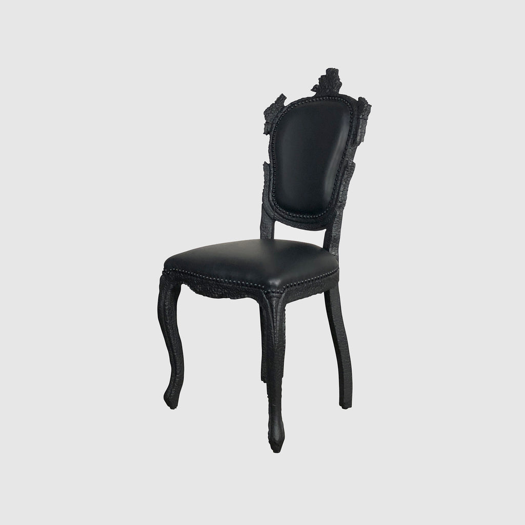 Moooi 'Smoke' Black Burnt Wood Dining Chair by Maarten Baas