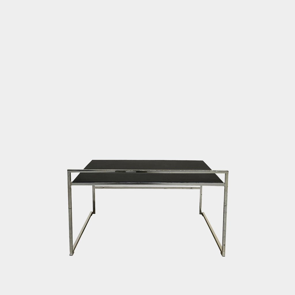 Poltrona Frau Black Leather Quadra Stackable Table