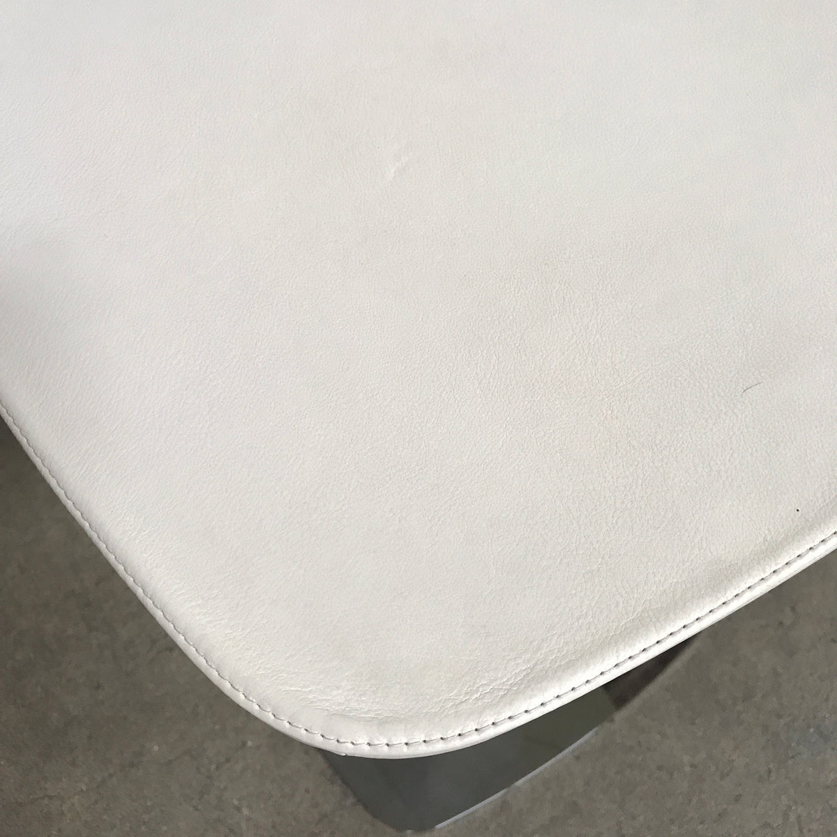 White Leather and Chrome Side Table