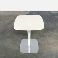 Poltrona Frau White Leather and Chrome Side Table