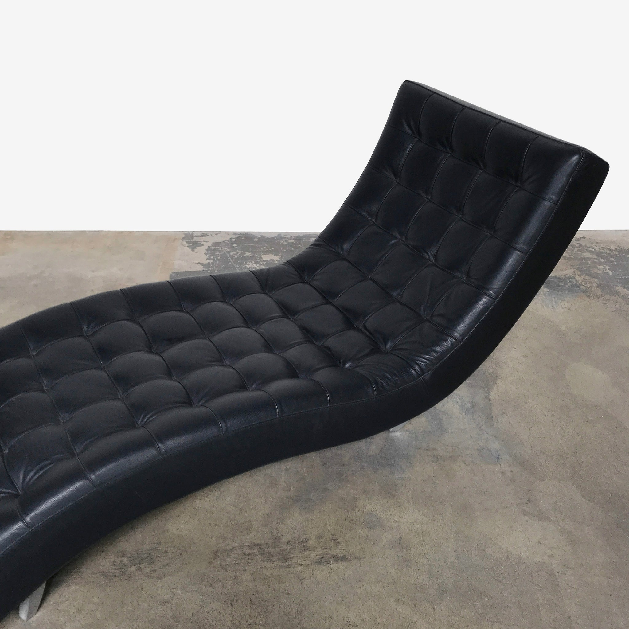 Roche Bobois Black Leather Dolce Chaise Lounge Chair | LA ...