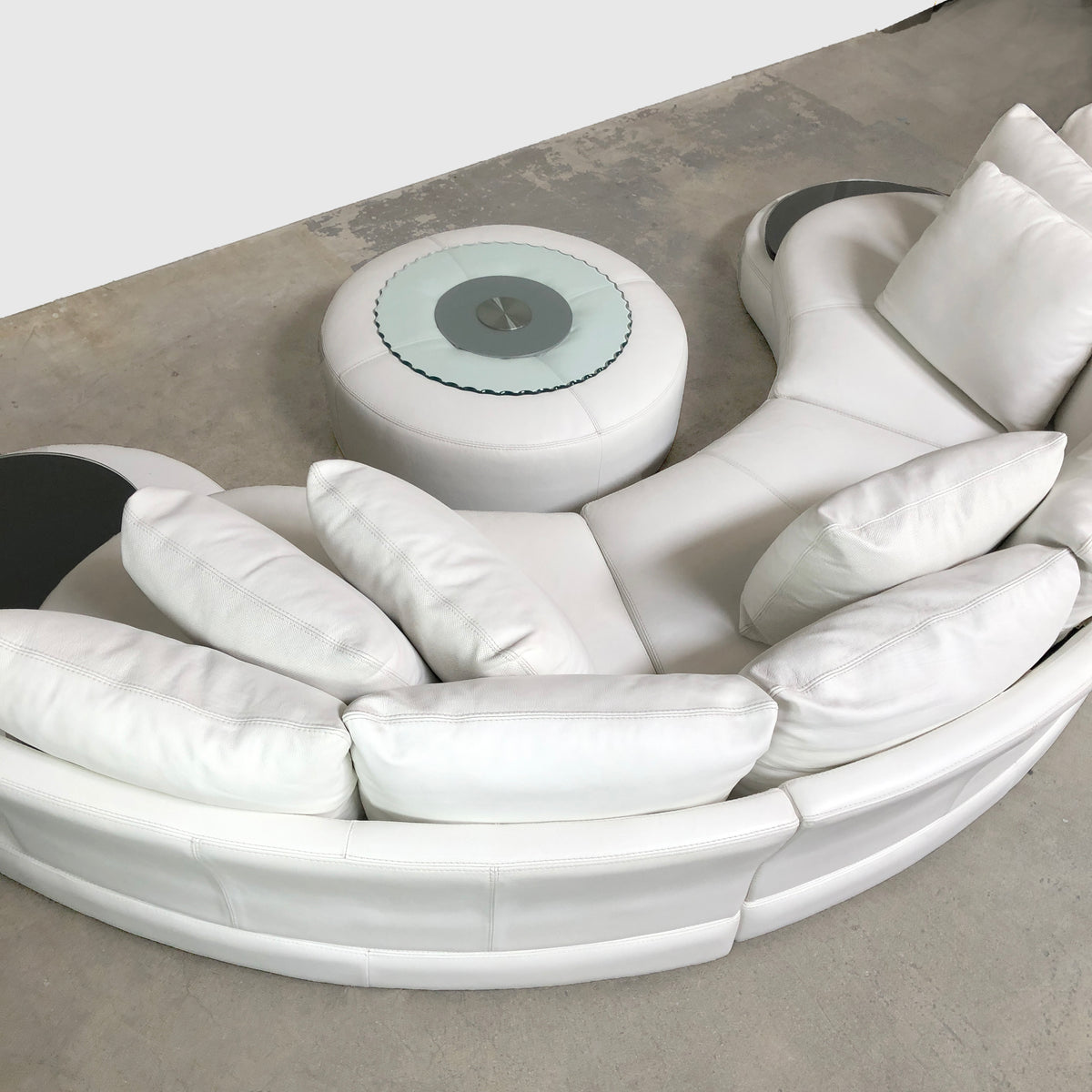 "Roche Bobois White ""Formentera"" Leather Modular Sofa"