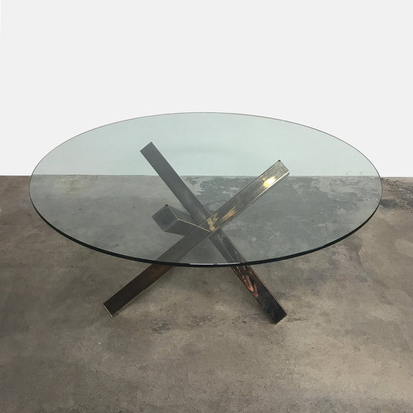 Roche Bobois Mikado Dining Table Glass Top Metal Base