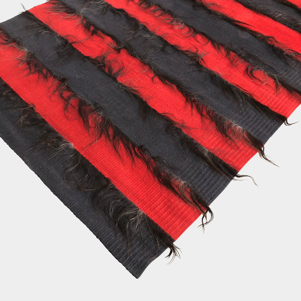 Ruckstuhl Red & Black Striped Fur Rug